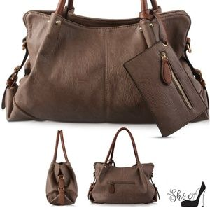 """Brenda"" Large Hobo Satchel in Mocha (3 pc Set)"